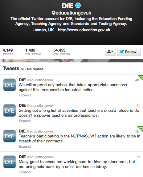 121212 DfE Strikes Screenshot Tweets