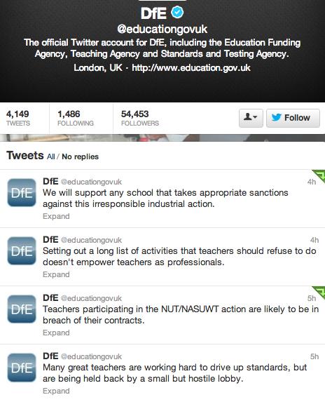 121212 DfE Strikes Screenshot Tweets