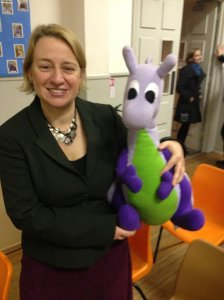 Puffles with Natalie Bennett after her talk to around 50 people at Emmanuel URC