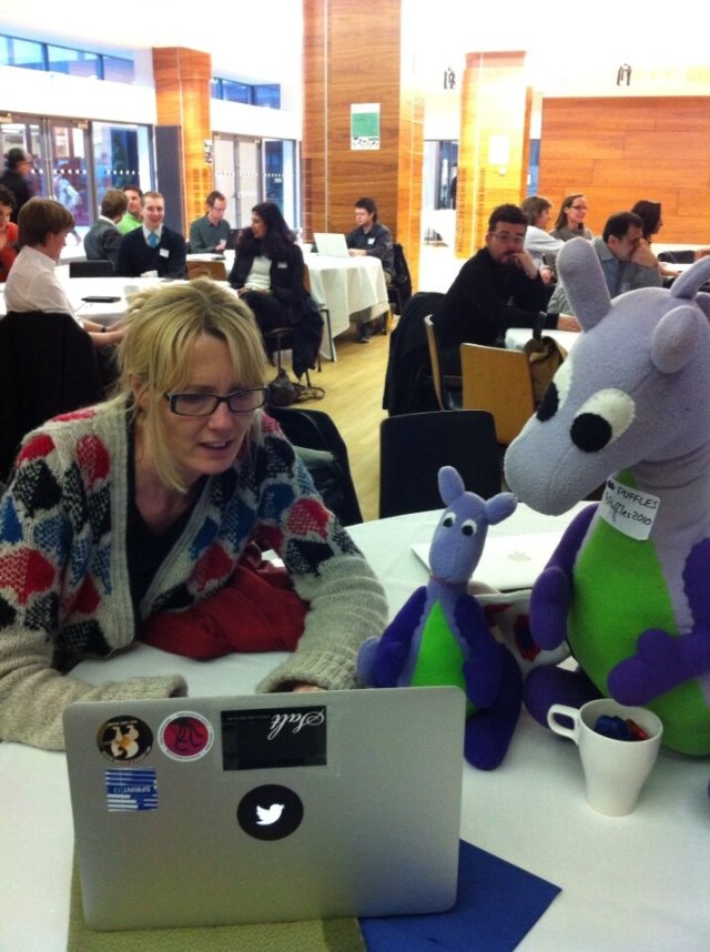 Nettie Williams of the Government Digital Service with the GDS' mascot Baby Puffles, and Puffles the Dragon Fairy