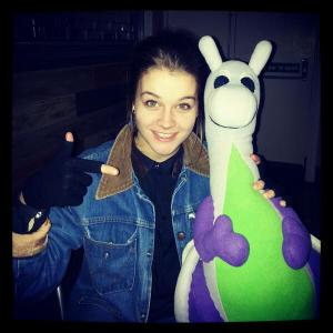 Puffles with Grace at The Portland Arms just before her live singer/songwriter performance