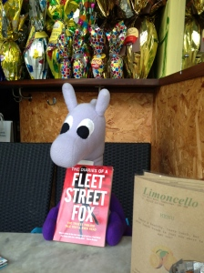 "Puffles with Foxy's book ""The diaries of a FLeet Street Fox"""