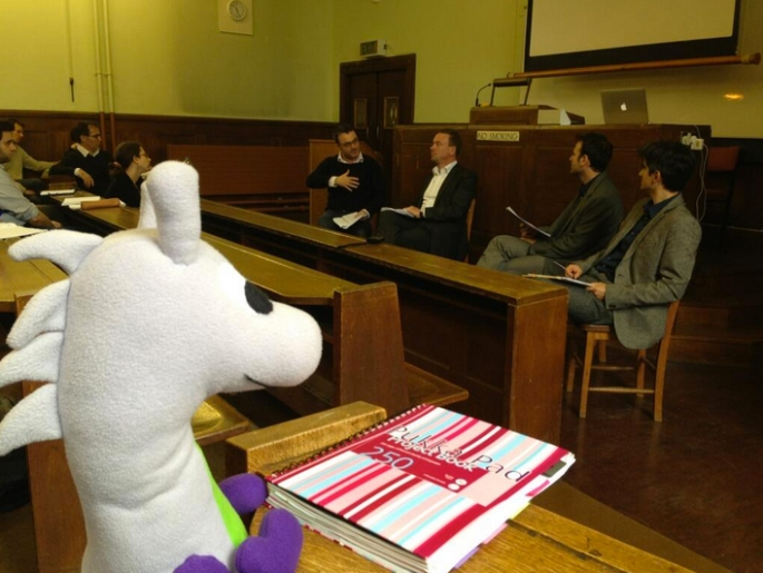 Puffles (*frowns*) at another all male panel. #DiversityFail