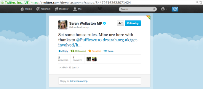 Dr Sarah Wollaston MP announces her new social media house rules - inspired by Puffles!