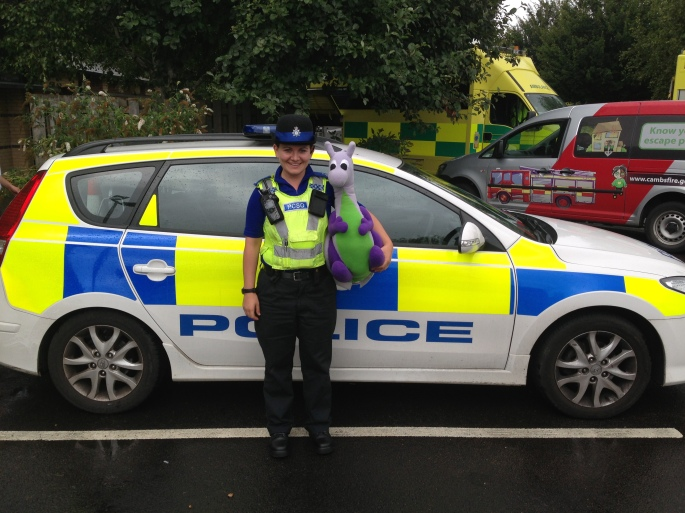 Puffles with PCSO Sarah Finbow of Cambridgeshire Police