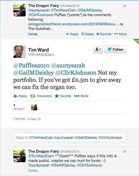 Cllr Tim Ward's response to Puffles regarding comments on Cambridge Guildhall