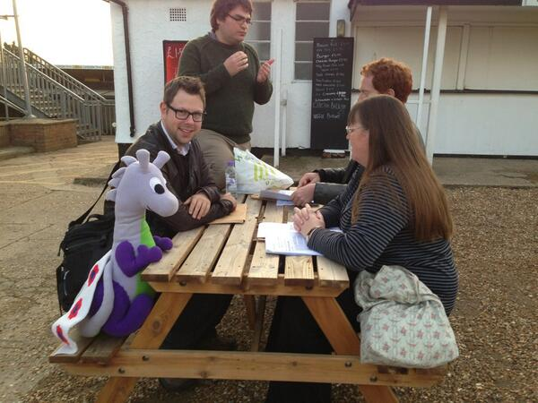 Puffles with Labour councillors just before the East Area Committee in September 2013