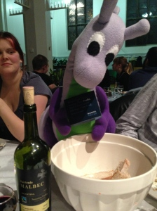 Puffles wins book tokens in the raffle. (Note the wine nearby too - pesky dragon fairies!)