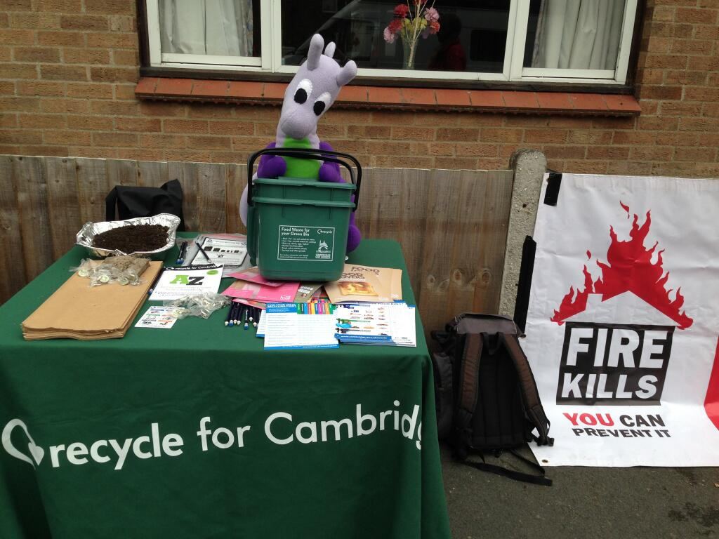 Puffles at a Cambridge City Council recycling stall at a community event recently