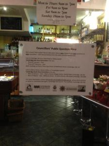 Limoncello's on Mill Road put my poster on their front door, advertising council area committee meetings