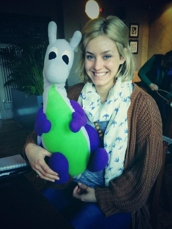 Puffles with Anglia Ruskin Student Union President Francesca Rust