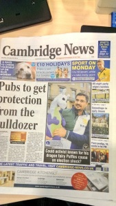 Me and Puffles on the front page of the Cambridge News