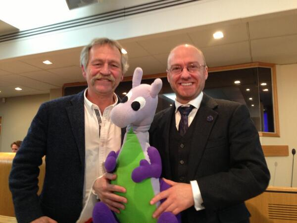 Puffles with Jose Bove MEP and Patrick Harvie MSP, the latter who sits in the Scottish Parliament.