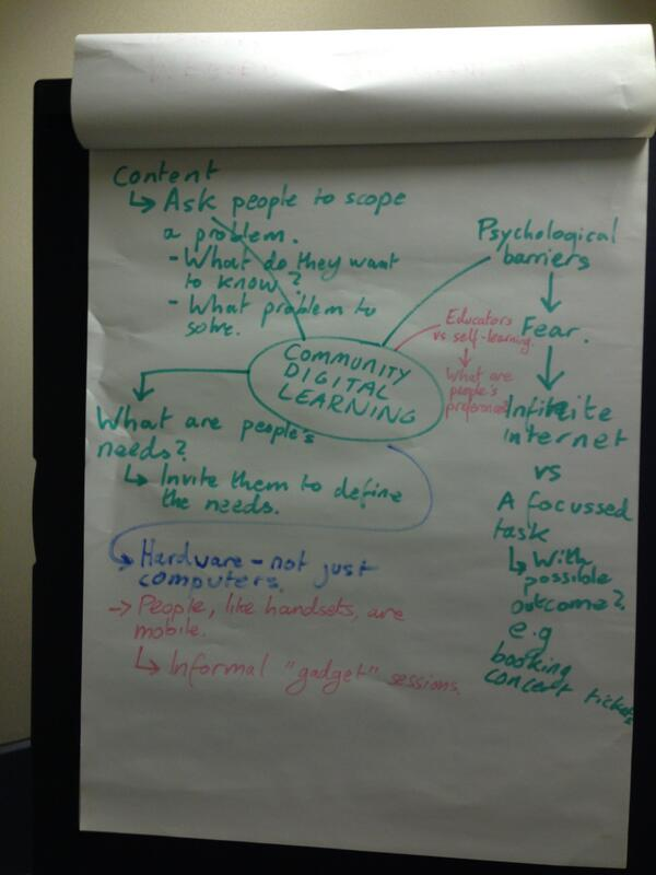 Flipchart 1 - where we heard an example about teaching digital through booking concert tickets