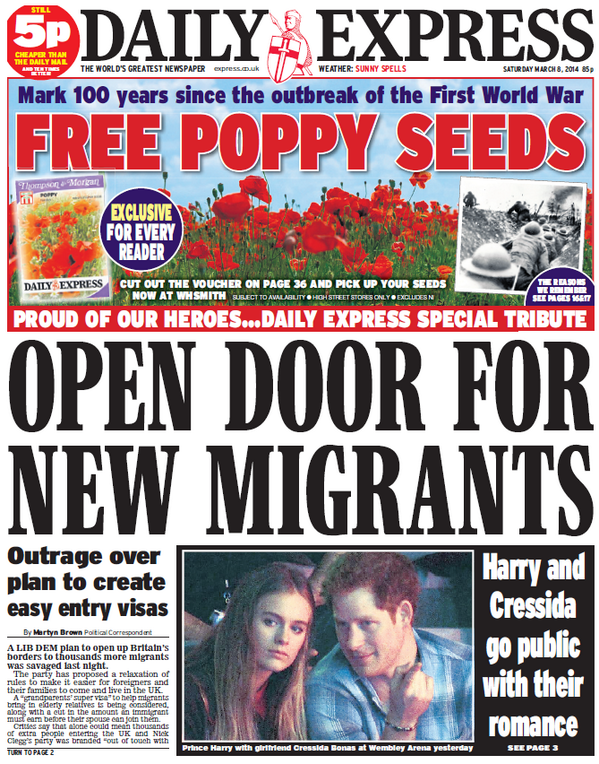 When satire becomes a real paper headline offer for its readers - the top bit. From 8 March 2014.