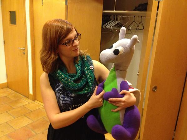 Puffles with Suzi in 'the green room' at #ThinkCon