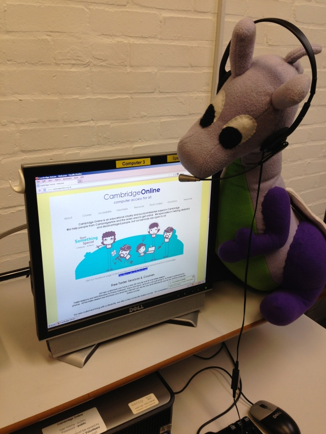 Puffles with @Net2Camb (Net-squared Cambridge) volunteering at Cambridge Online, where we help local people and community groups use social media