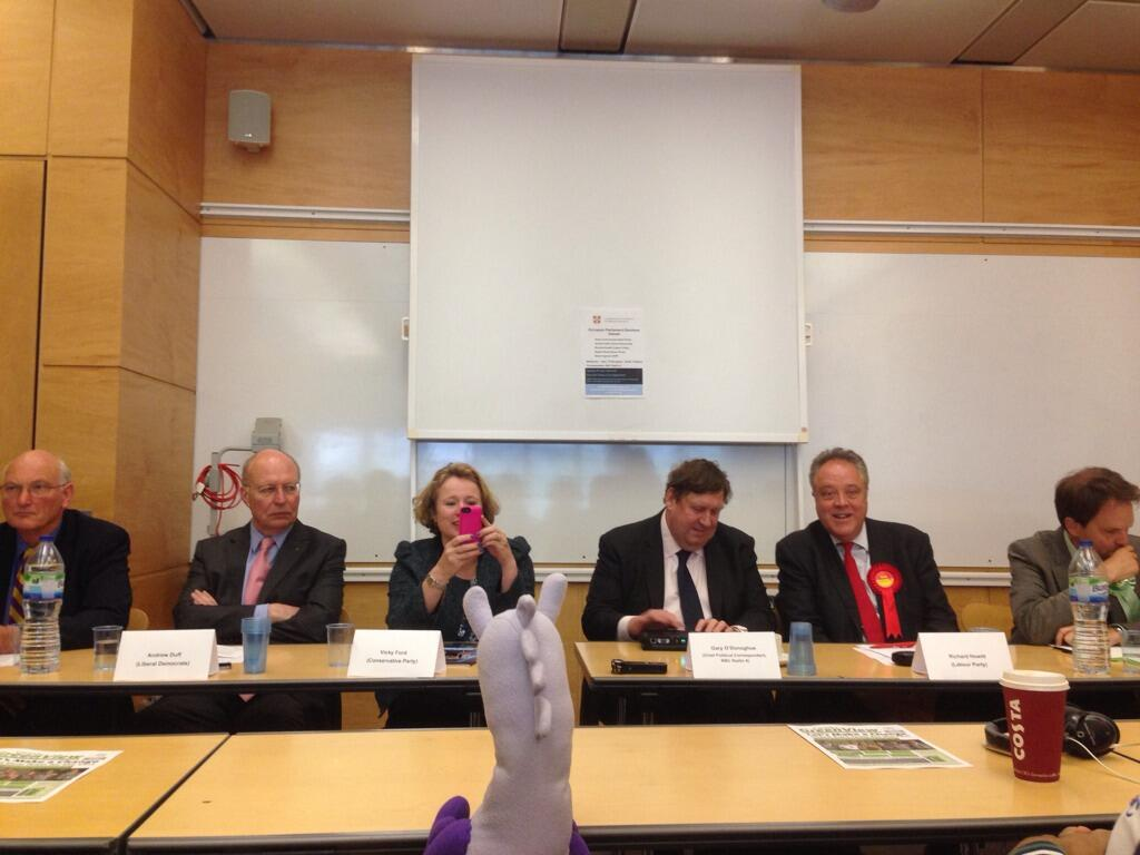 Puffles prepares to cross-examine candidates for the European Parliament Elections for the East of England region.