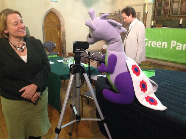 """***Hai!*** I iz meejah!"" Puffles with Green Party Leader Natalie Bennett in Cambridge for the launch of the Green Party's East of England manifesto for the Euro 2014 elections"