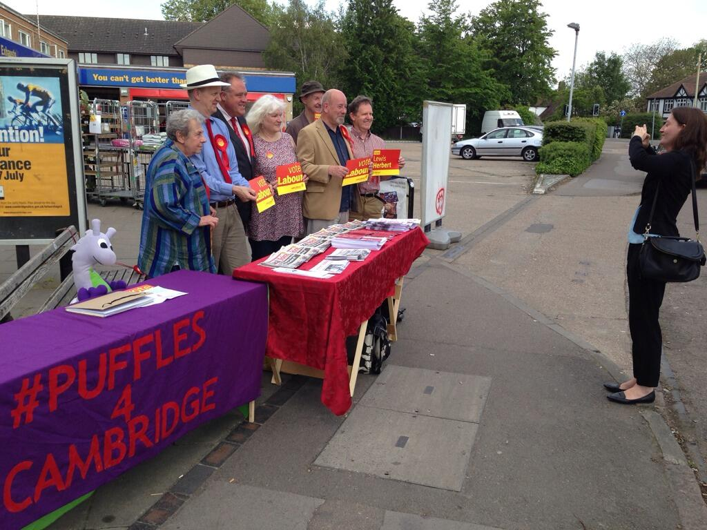 Puffles gatecrashing Cambridge Labour Party's stall in our neighbourhood