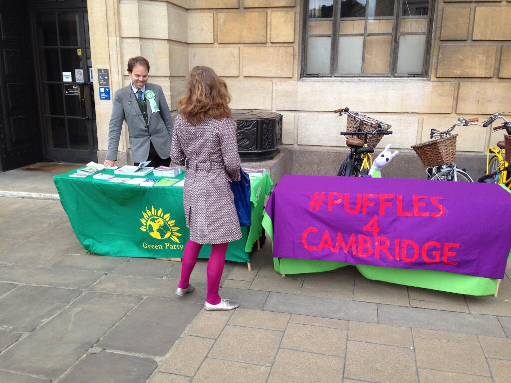 Puffles' stall outside Cambridge Guildhall, next to Green MEP candidate Rupert Read who had five activists engaging with the public