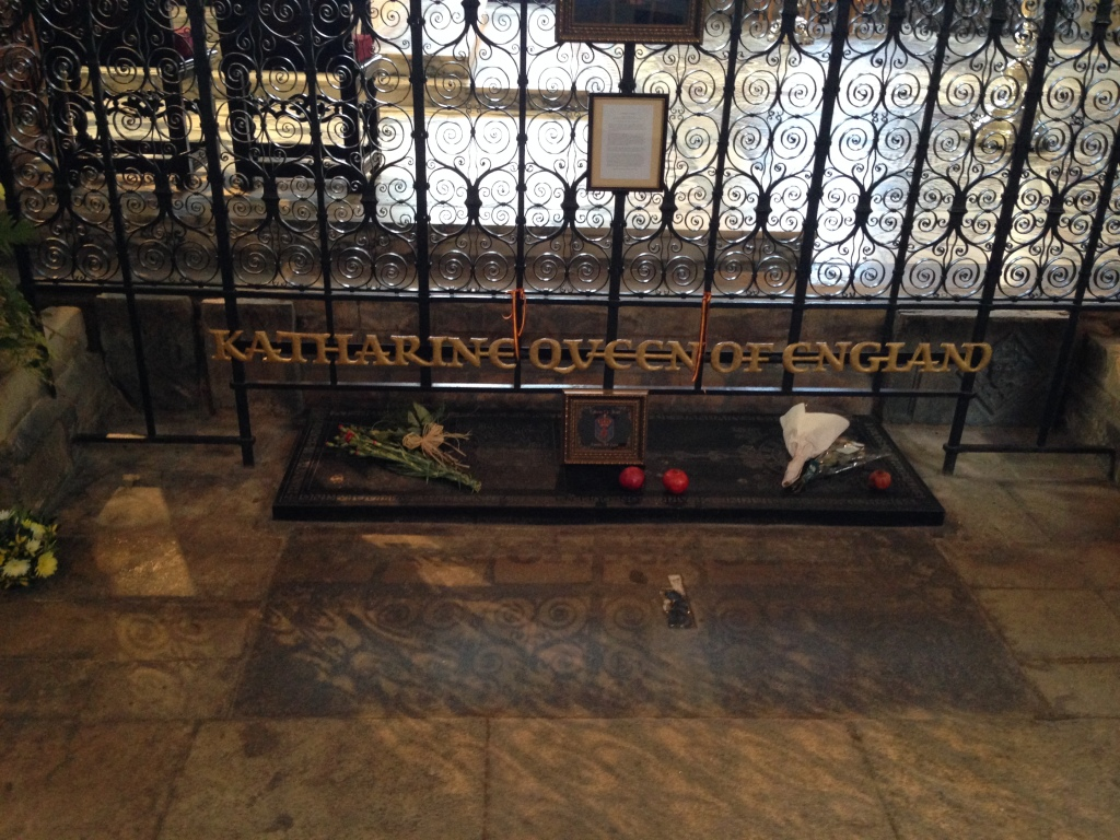 Katharine of Aragon's tomb - the fruits there are pomegranates