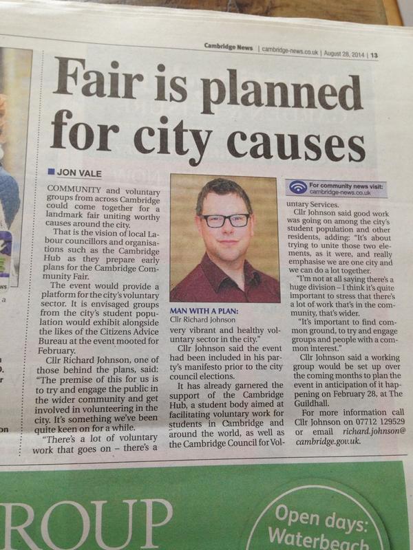The announcement of the Cambridge Societies Fair in the Cambridge News