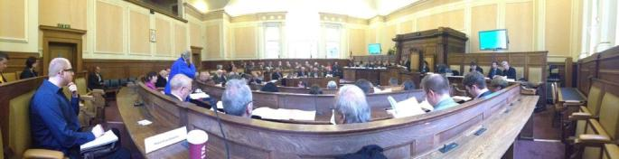 A panoramic photo of the full council - taken on a smartphone