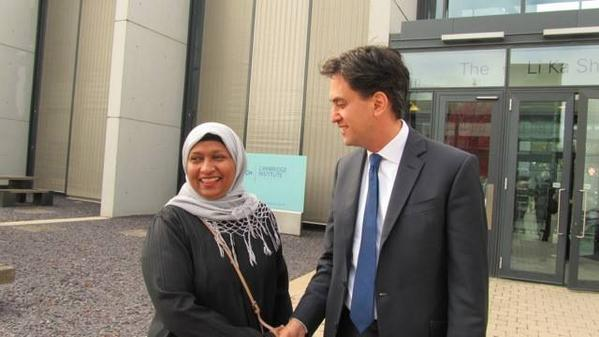 Labour candidate Rahima Ahammed with Ed Miliband outside the Cancer Research labs by Addenbrookes. Pic Cllr Dave Baigent via Twitter