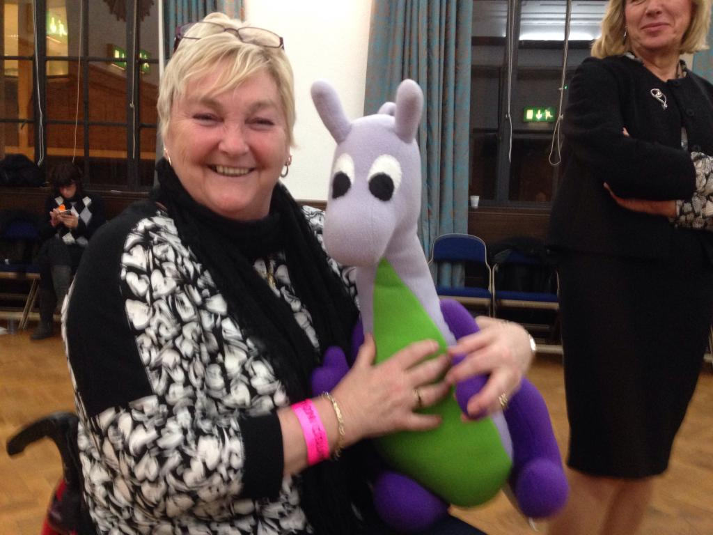 Puffles the dragon fairy with Mayor of Cambridge, Cllr Gerri Bird.