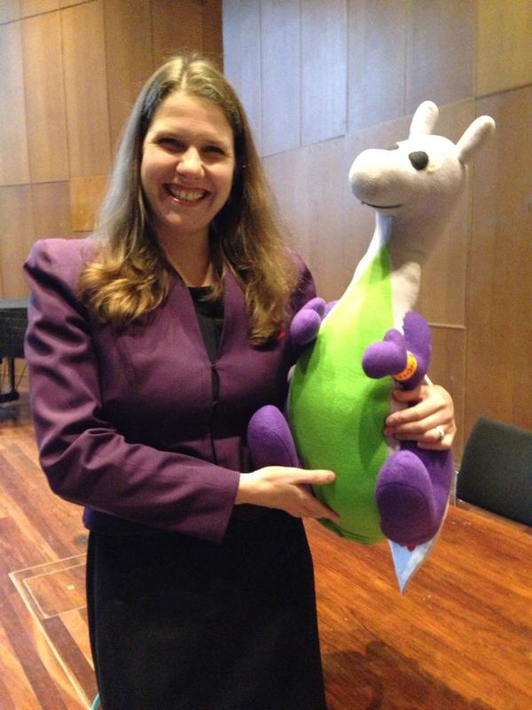Jo Swinson MP with Puffles at Kings College, Cambridge