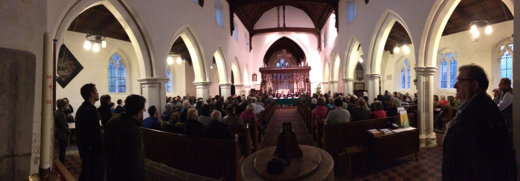 A pano from my mobile at the South-East Cambs hustings at St Vigor's Church, Fulbourn just outside Cambridge.
