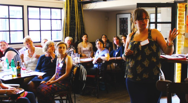 Kathryn leading a feedback session for the Women's Equality Party in Cambridge