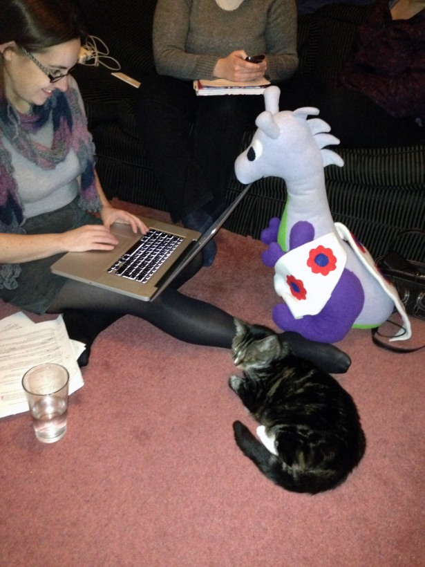 Puffles, Mog & Michelle working on a digital video project with Dana & Ceri in the background.