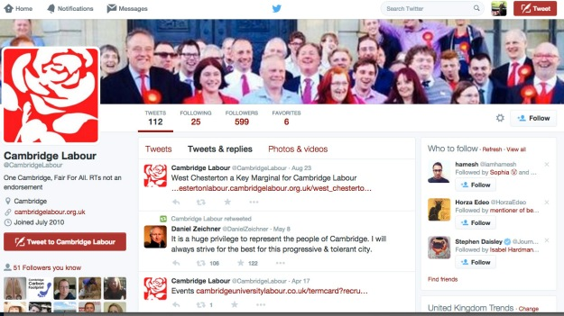 Poor show: An under-used local party corporate account. Note the few posts in the run up to the general election.