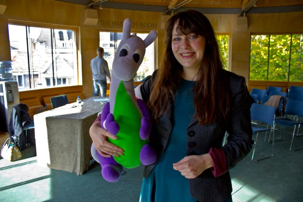 Puffles with Amelia Womack at Emmanuel College, Cambridge.