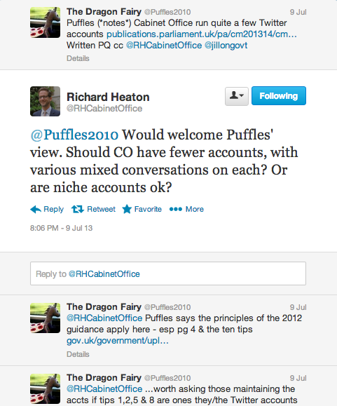 An archived Tweet on how Cabinet Office shd use Twitter - Mr Heaton consults Puffles.