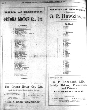 181120 Ortona and GP Hawkins ROll of honour