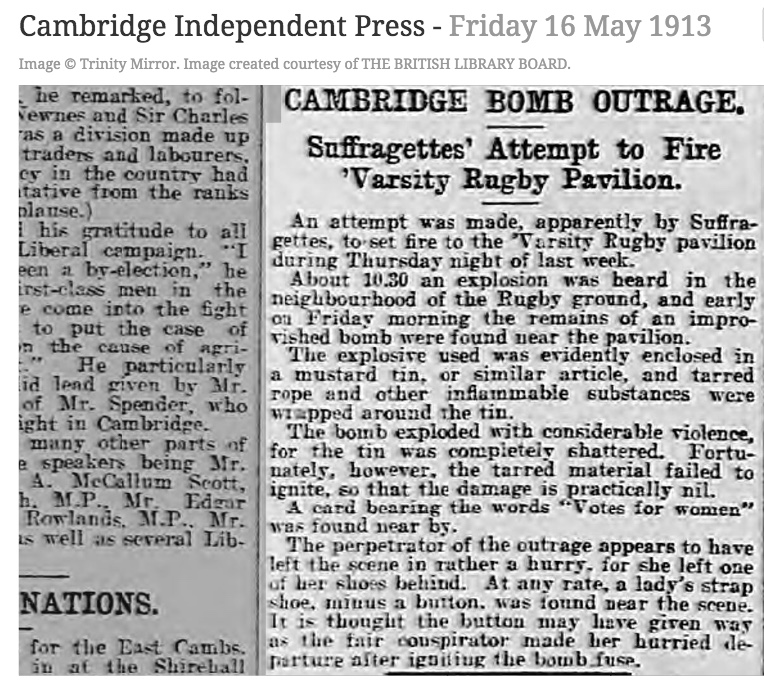130516 Suffragettes firebomb Cambridge Uni Rugby club