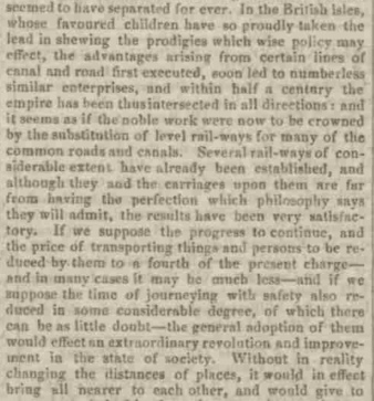1840 Observations on railway and new tech
