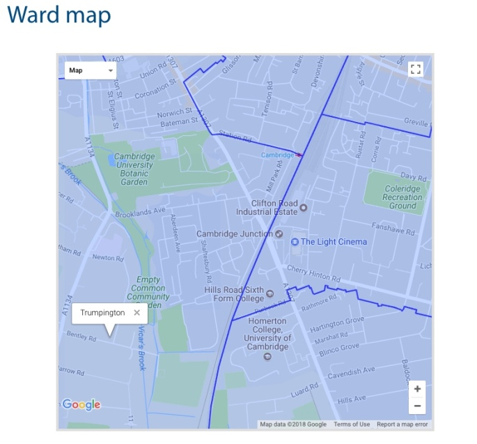 Cambridge Station Ward Map