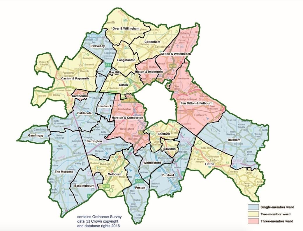 SouthCambs Ward Map 2018