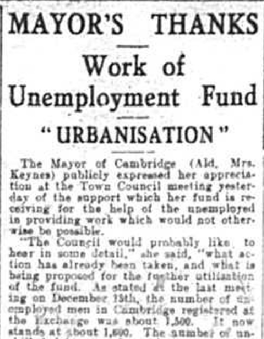 330203 Florence Ada Keynes Unemployment Fund Mayoralty