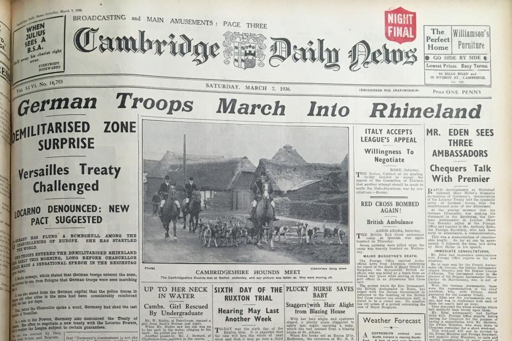 360307 Nazis occupy Rhineland headline CDN 1936