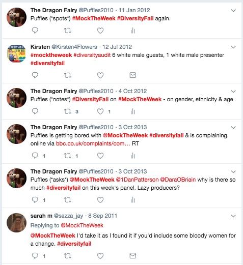 190116 mocktheweek diversityfail tweets