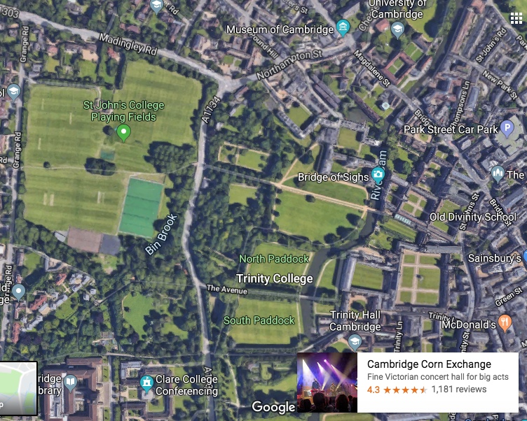 190613 Cambridge Map StJohnsCollege playing fields as a park